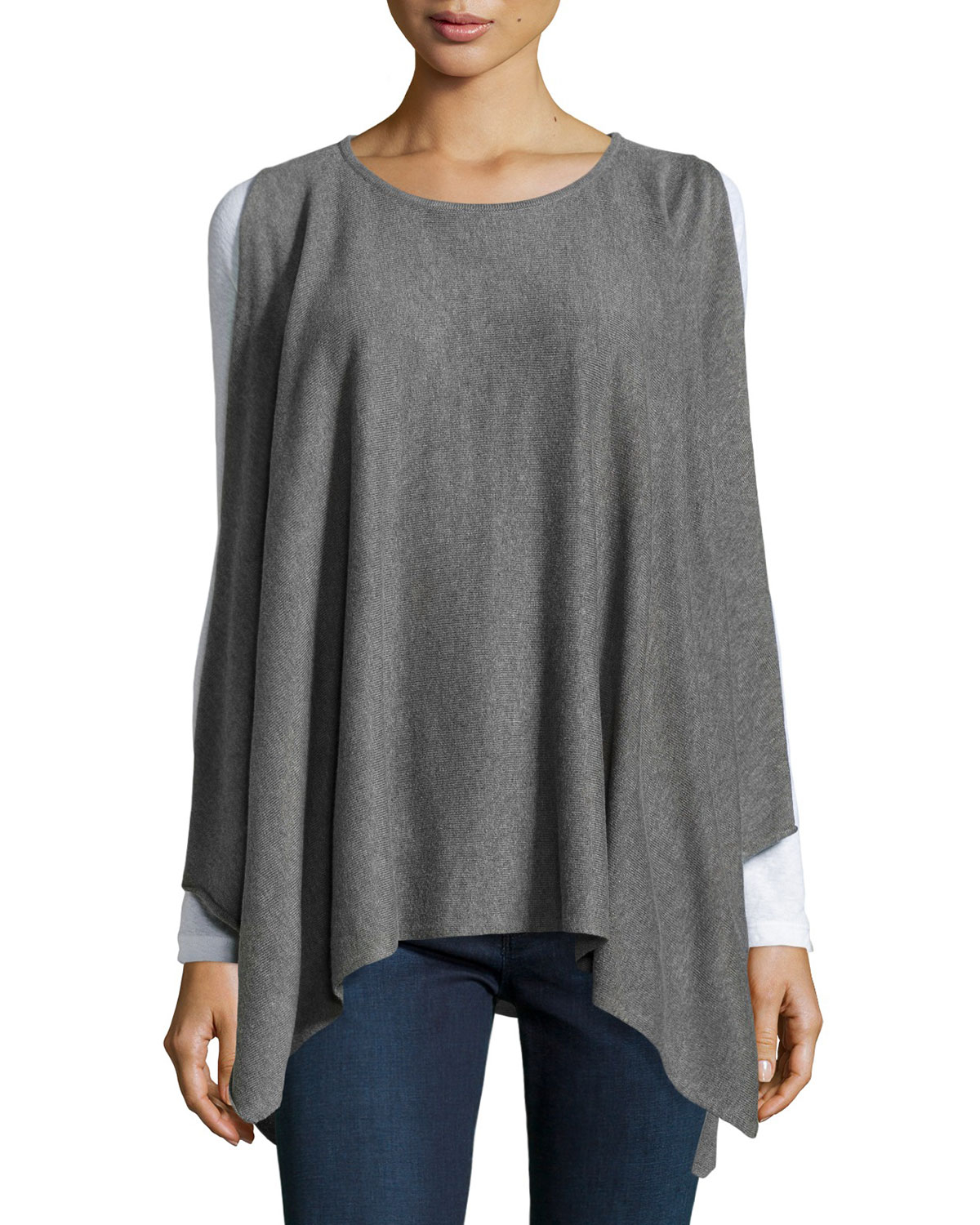 0a9aeeebd9f031 Lyst - Max Studio Cold-Shoulder Poncho Sweater in Gray