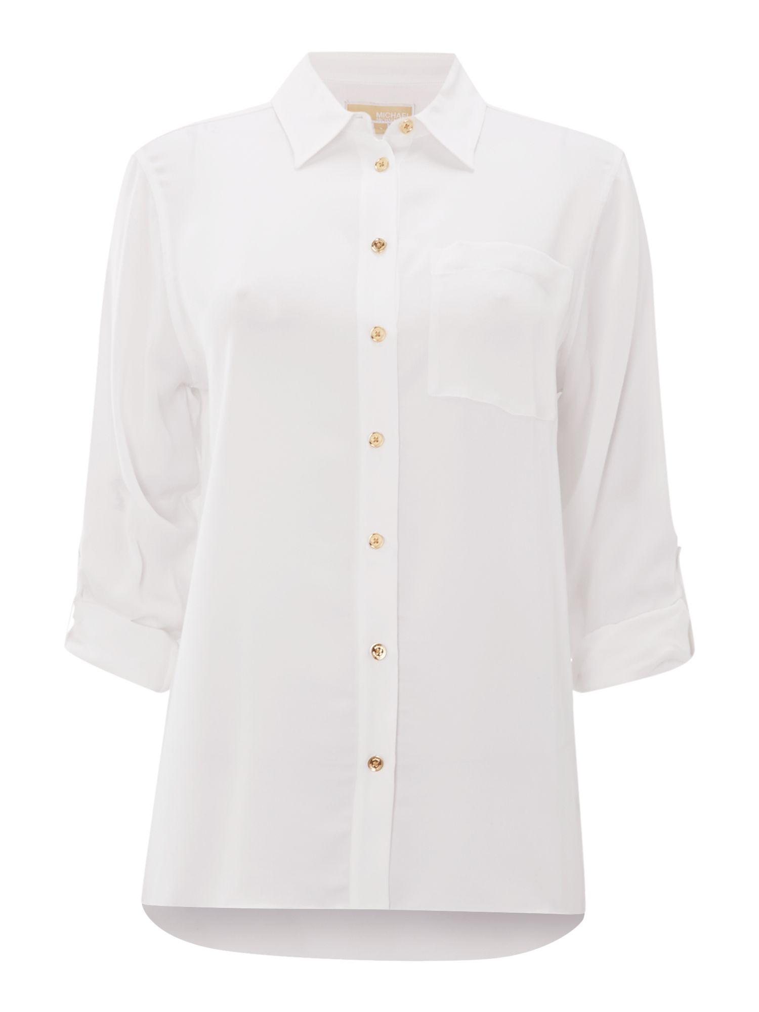 Michael kors hi low button down silk shirt in white lyst for Silk button down shirt