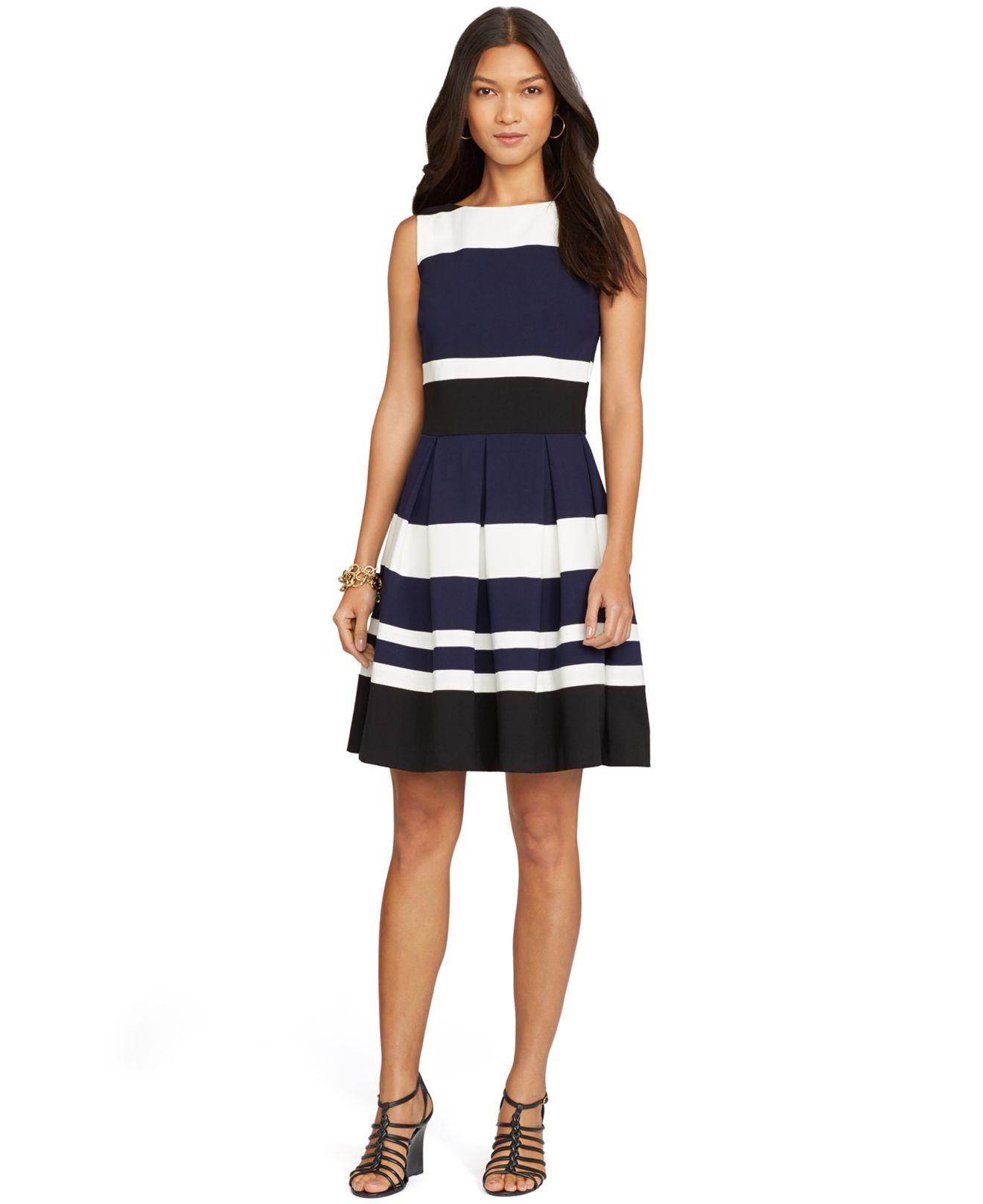 1e0360facb69d Lyst - Lauren by Ralph Lauren Striped Sleeveless Dress in Blue