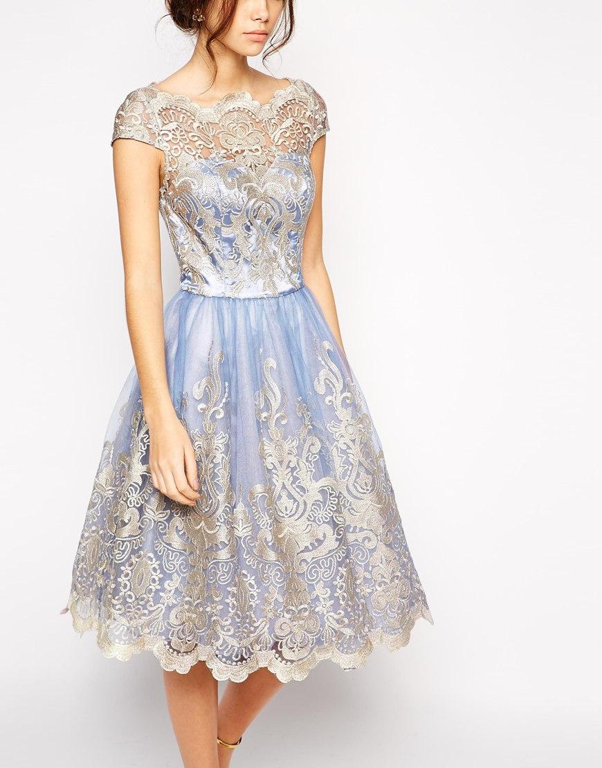 Lyst Chi Chi London Premium Metallic Lace Prom Dress