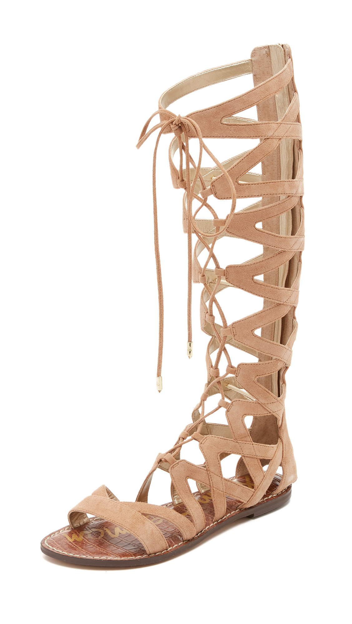 Lyst Sam Edelman Gena Camel Suede Gladiator Lace Up Sandalo in marrone