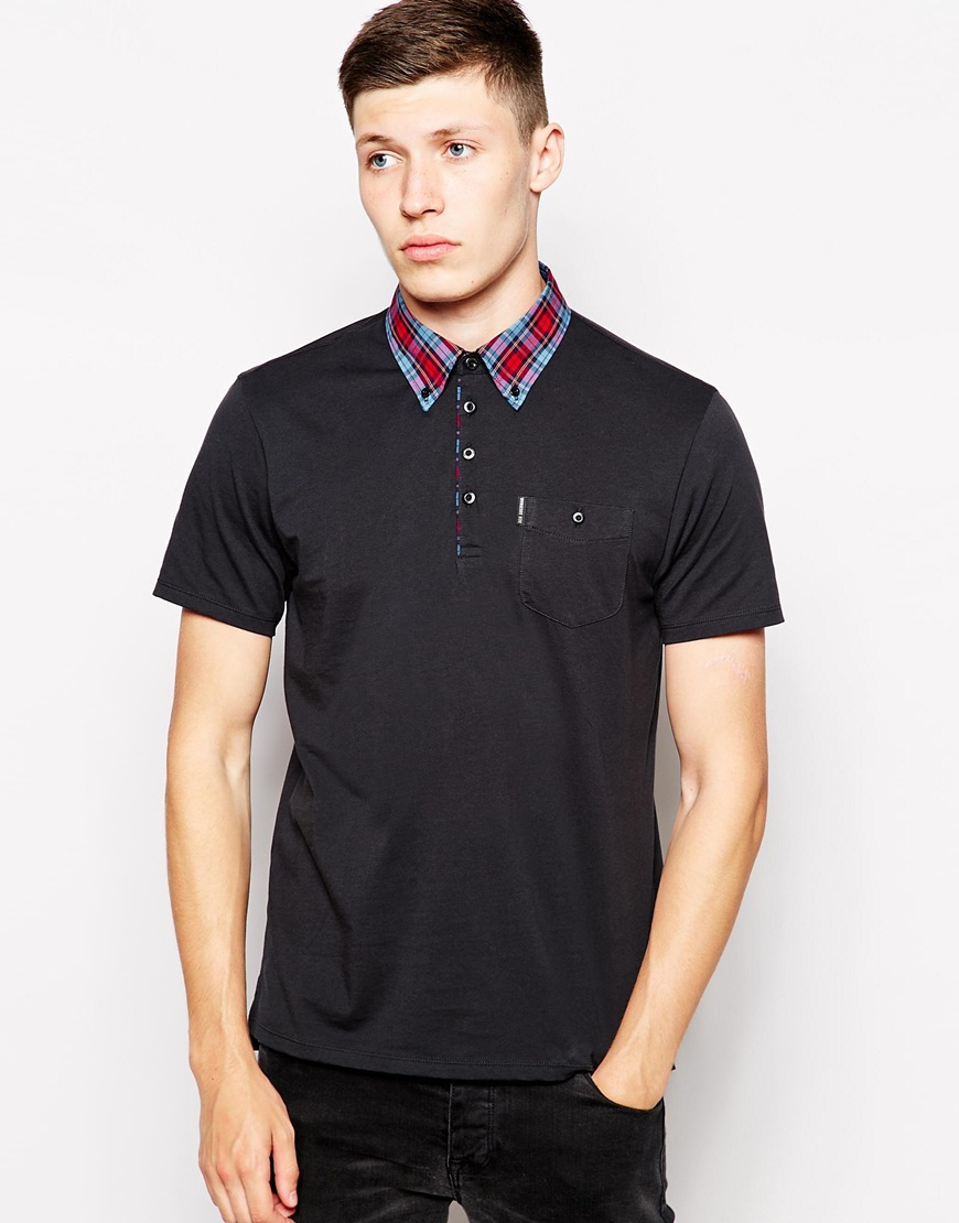 ben sherman polo with contrast check collar in black for men lyst. Black Bedroom Furniture Sets. Home Design Ideas