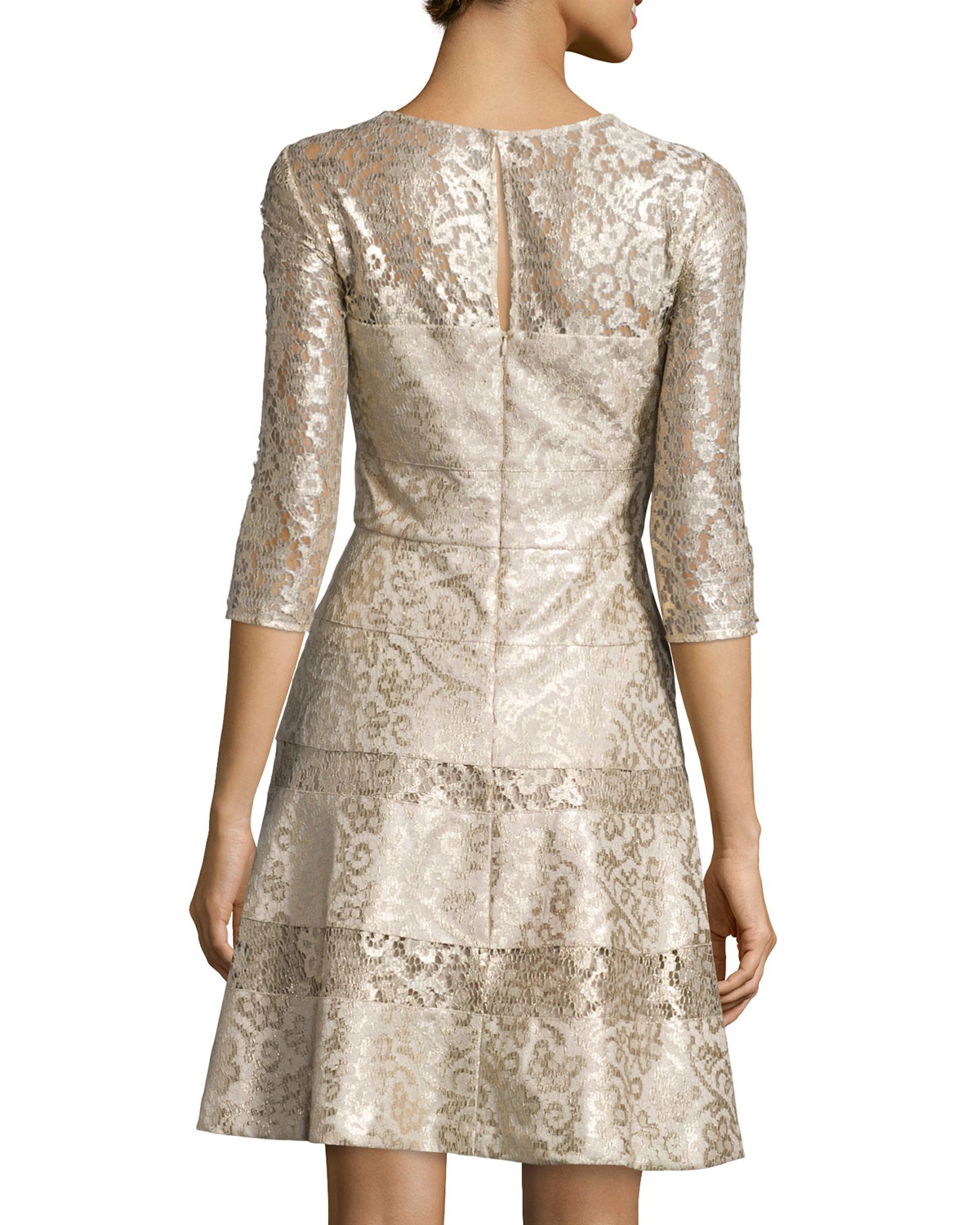 Lyst - Kay Unger 3/4-sleeve Lace Fit & Flare Dress in Metallic