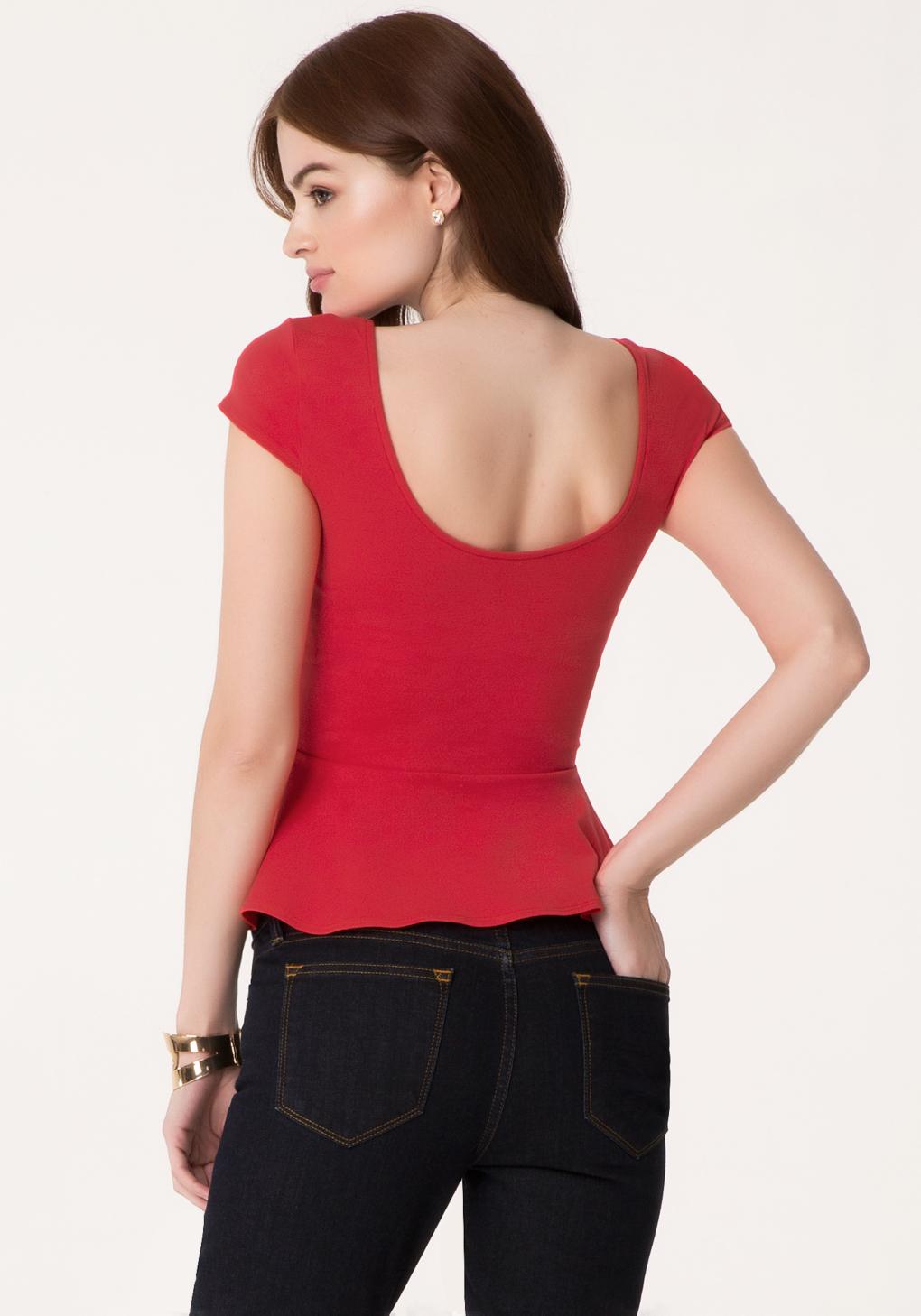 Lyst - Bebe Cap Sleeve Peplum Top in Red
