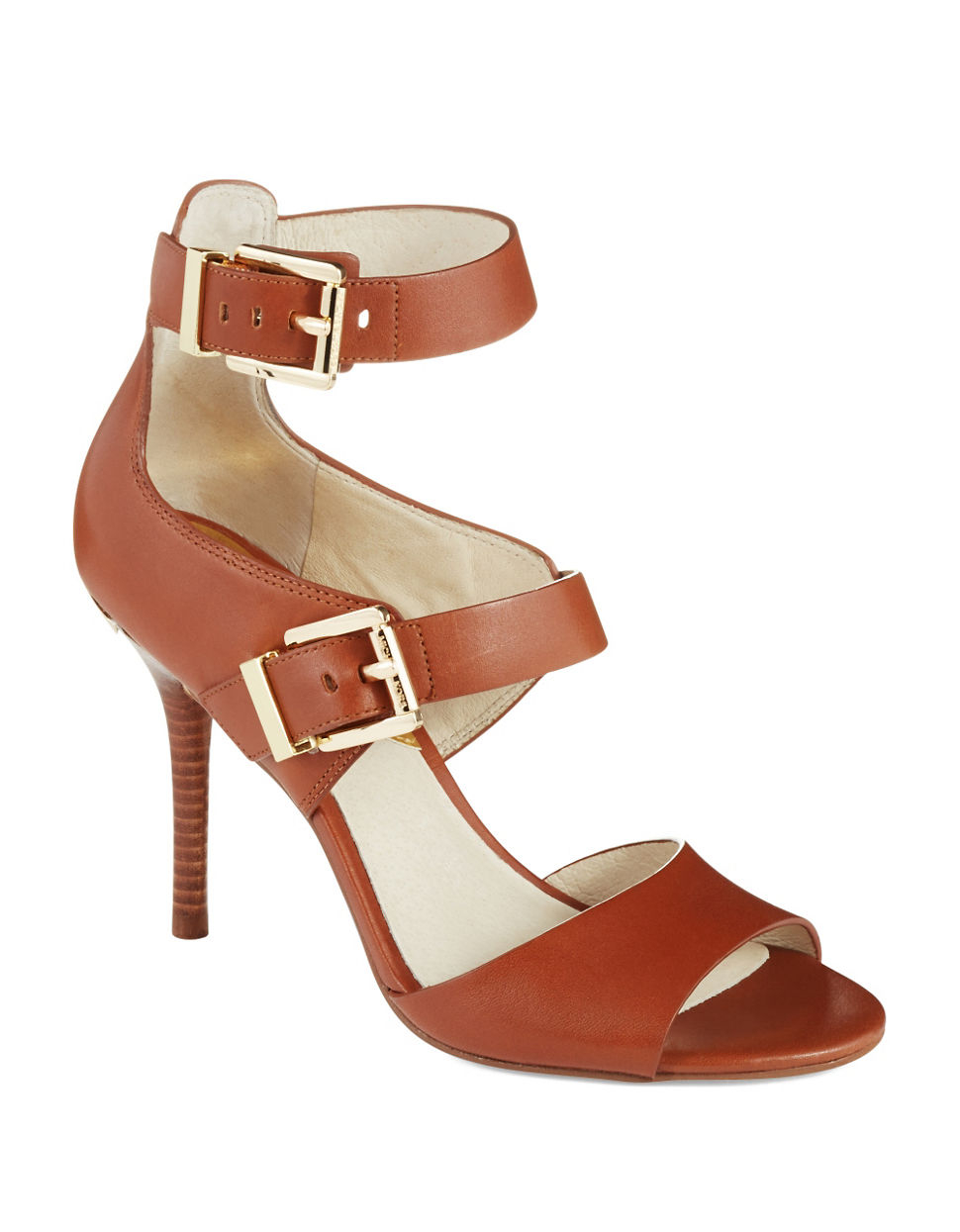 michael michael kors adriana ankle strap heels in brown lyst. Black Bedroom Furniture Sets. Home Design Ideas