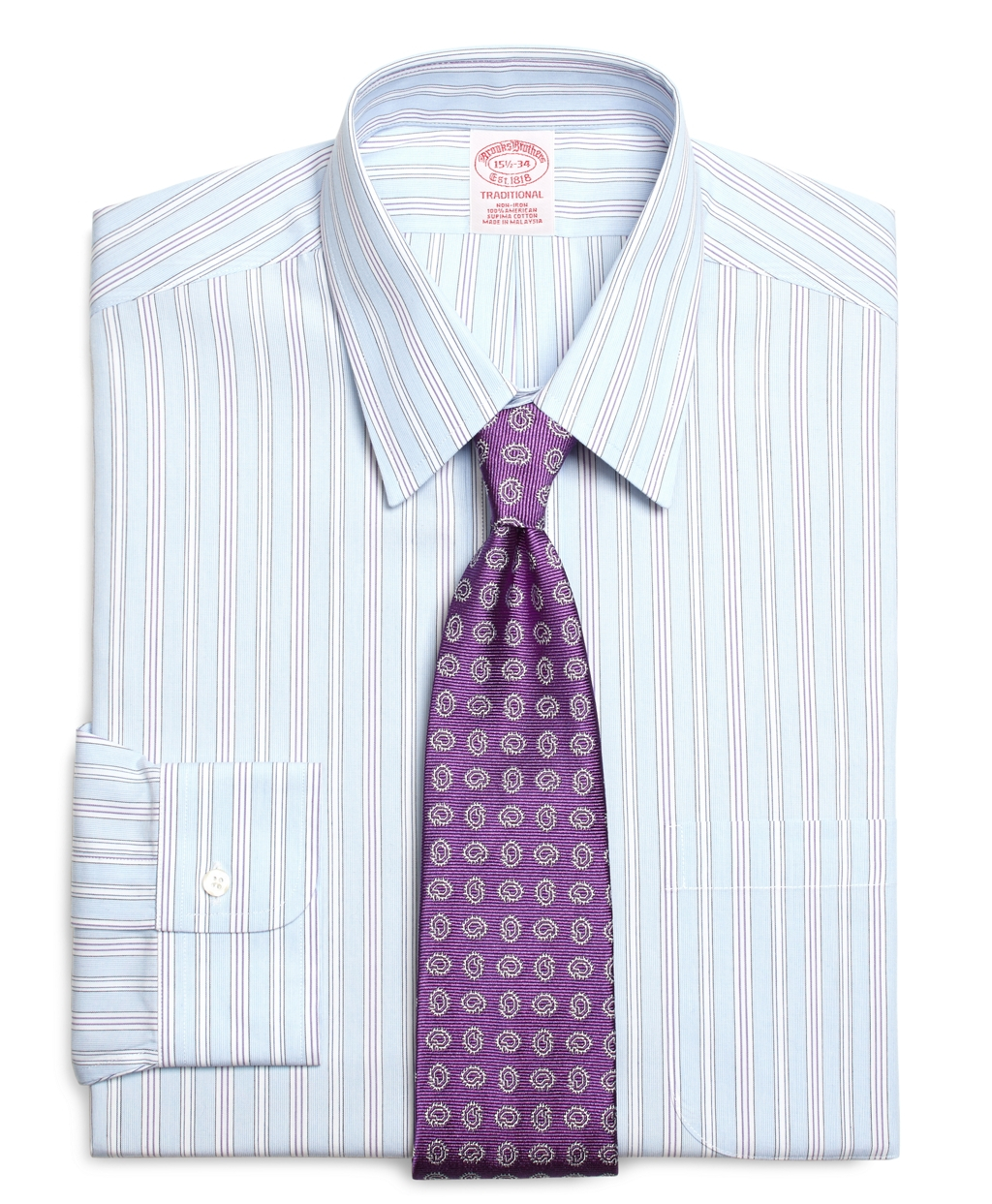 Brooks brothers non iron traditional fit hairline for Brooks brothers dress shirt fit