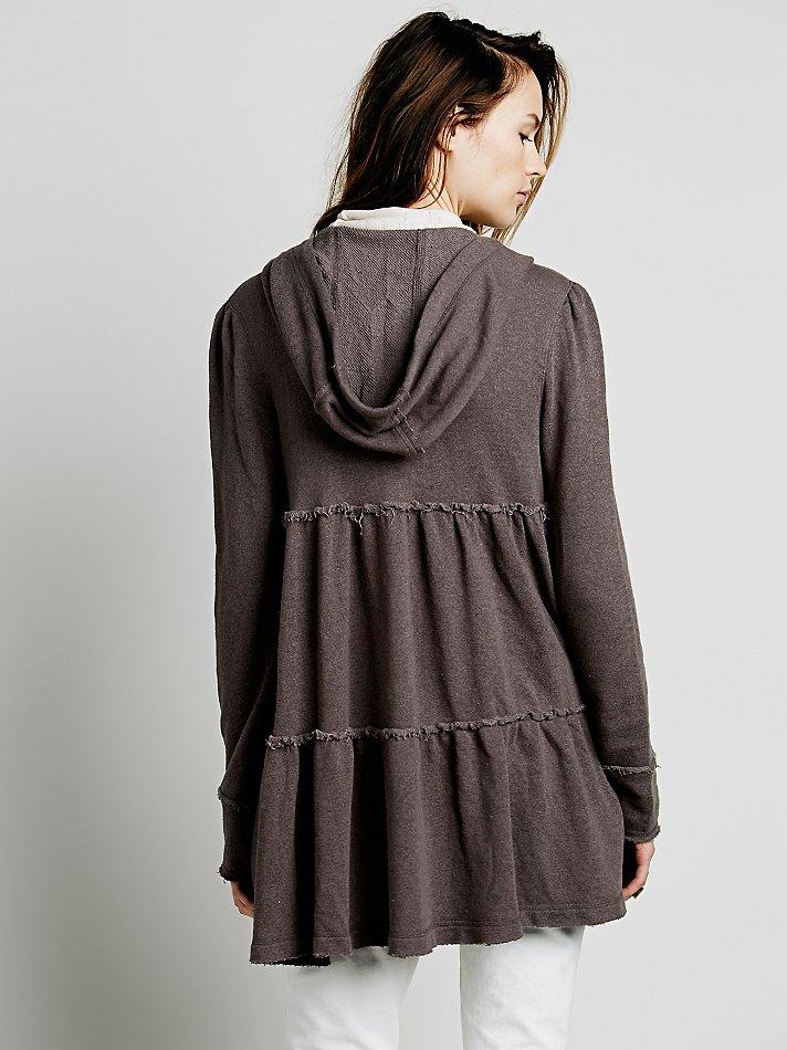 Lyst - Free People Tiered Trapeze Zip Sweatshirt in Brown