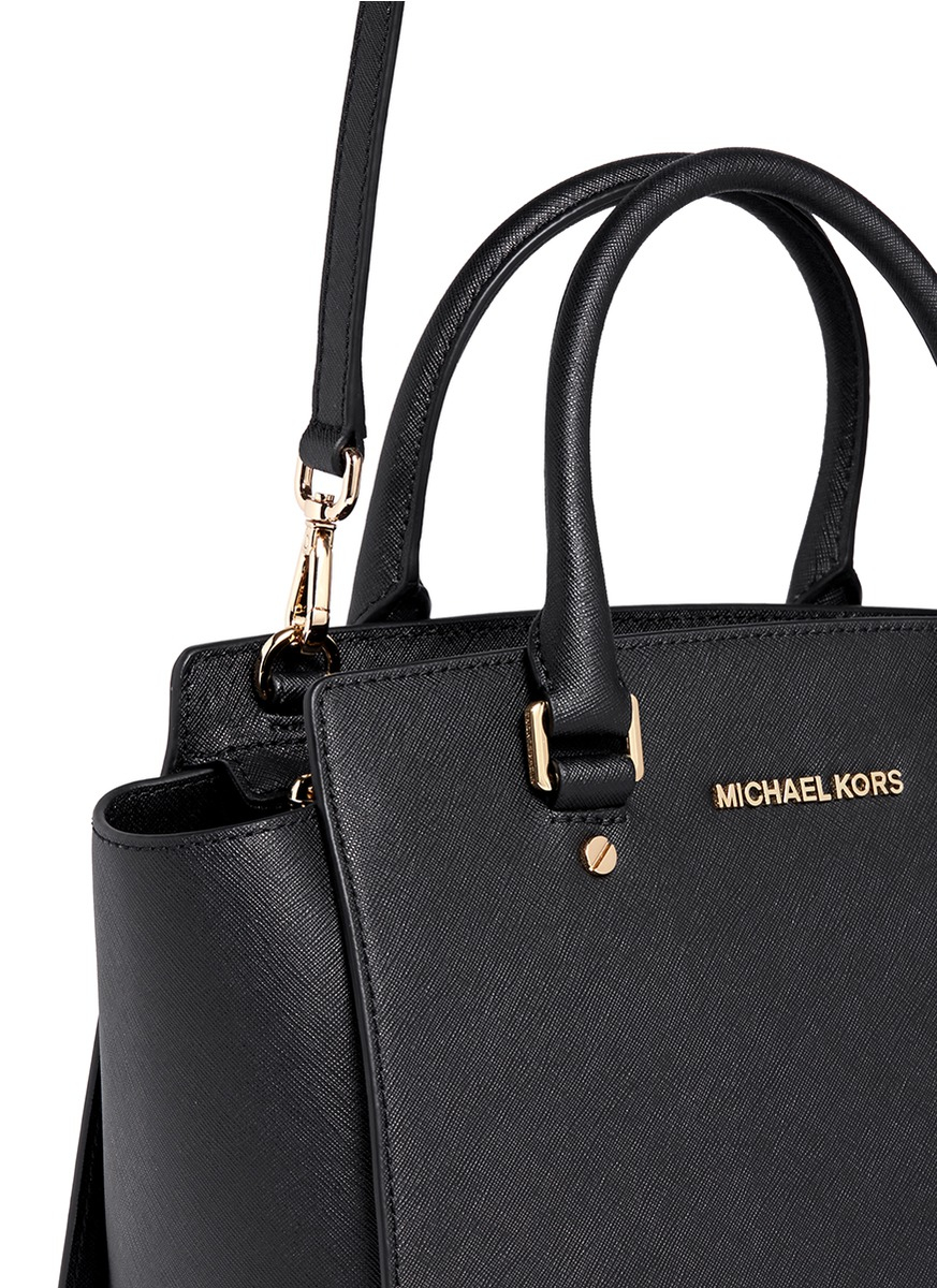 d84a1388ceb239 ... wholesale lyst michael kors selma medium saffiano leather satchel in  black ca8b1 505ae