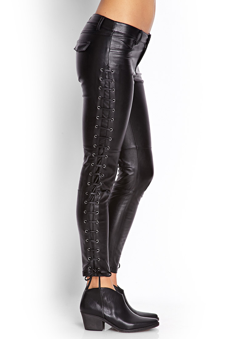 Lace Up Leather Leggings