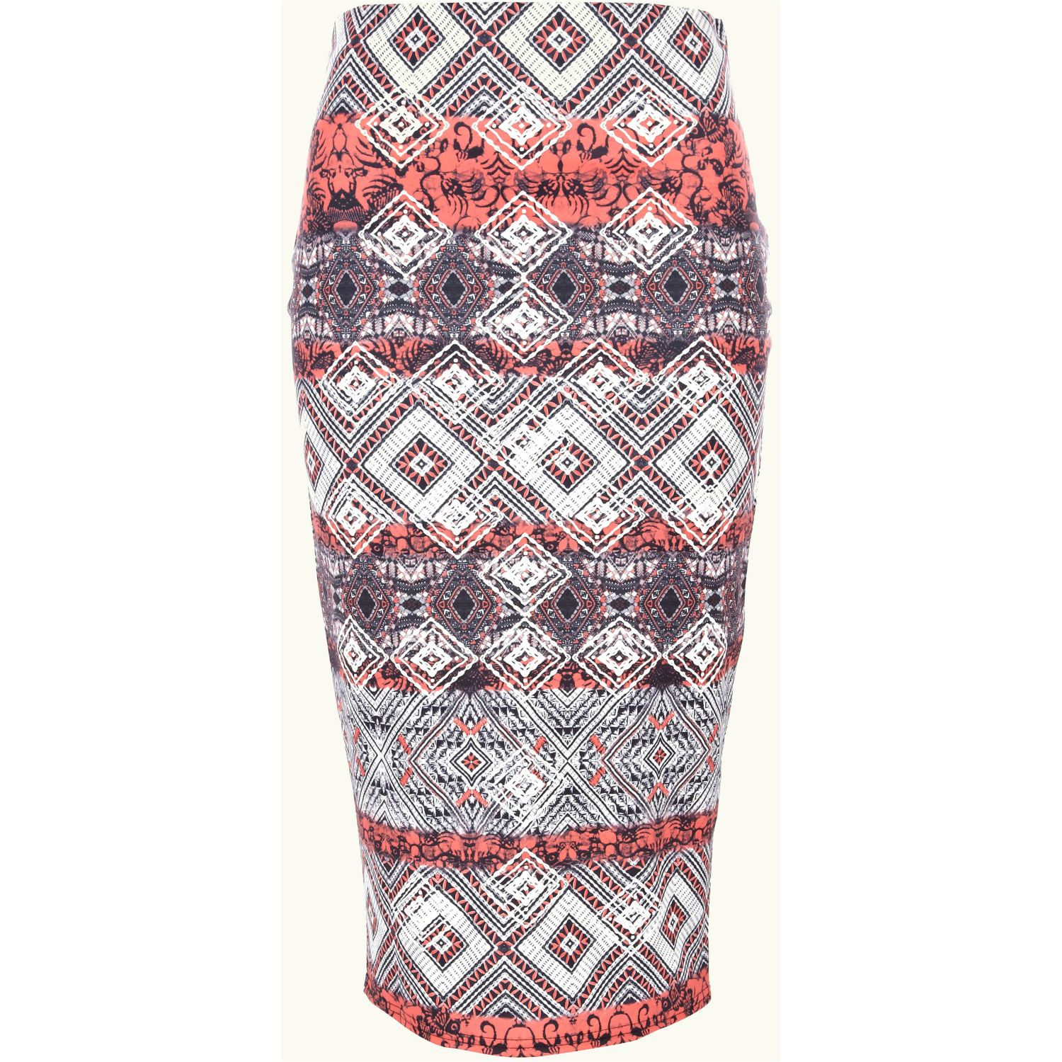 river island aztec puff print pencil skirt in lyst