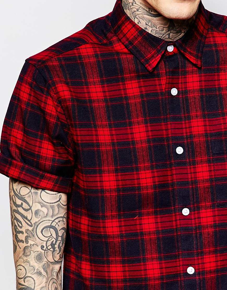 Lyst Asos Check Shirt In Flannel With Short Sleeve
