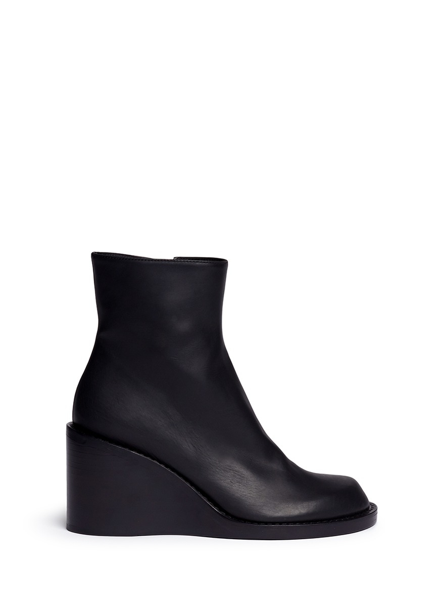 Ann demeulemeester Leather Wedge Ankle Boots in Black | Lyst