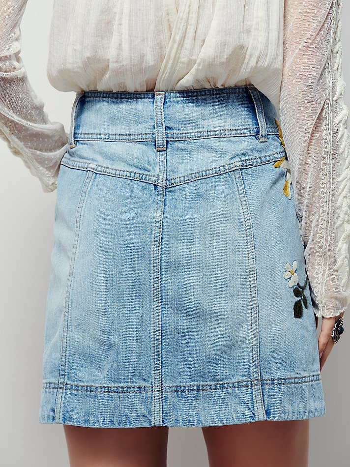 Free People Womens Jackson Embroidered Denim Skirt In Blue