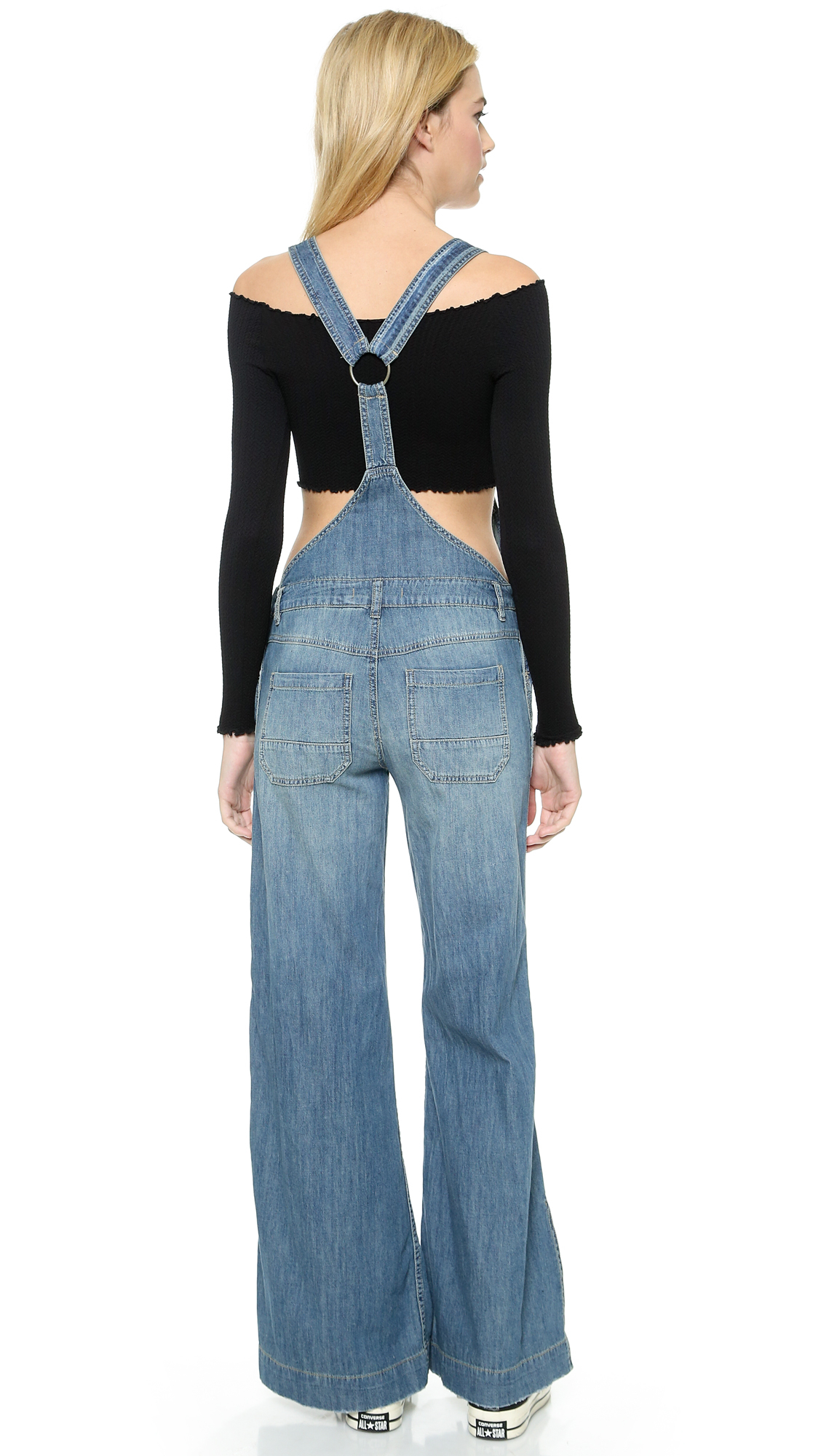 5ec888f49f7 Lyst - Free People Washed Chambray D Ring Back Overalls - Bee Wash ...