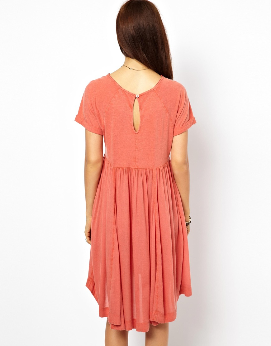 f89c0244dc0c Free People Dress in Lace with Mirror Embroidery in Red - Lyst