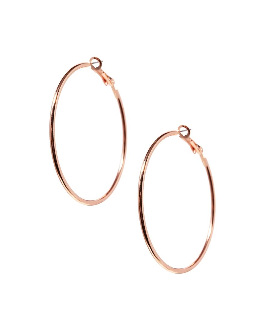 Lyst - Asos Fine Wire 50mm Hoop Earrings in Metallic