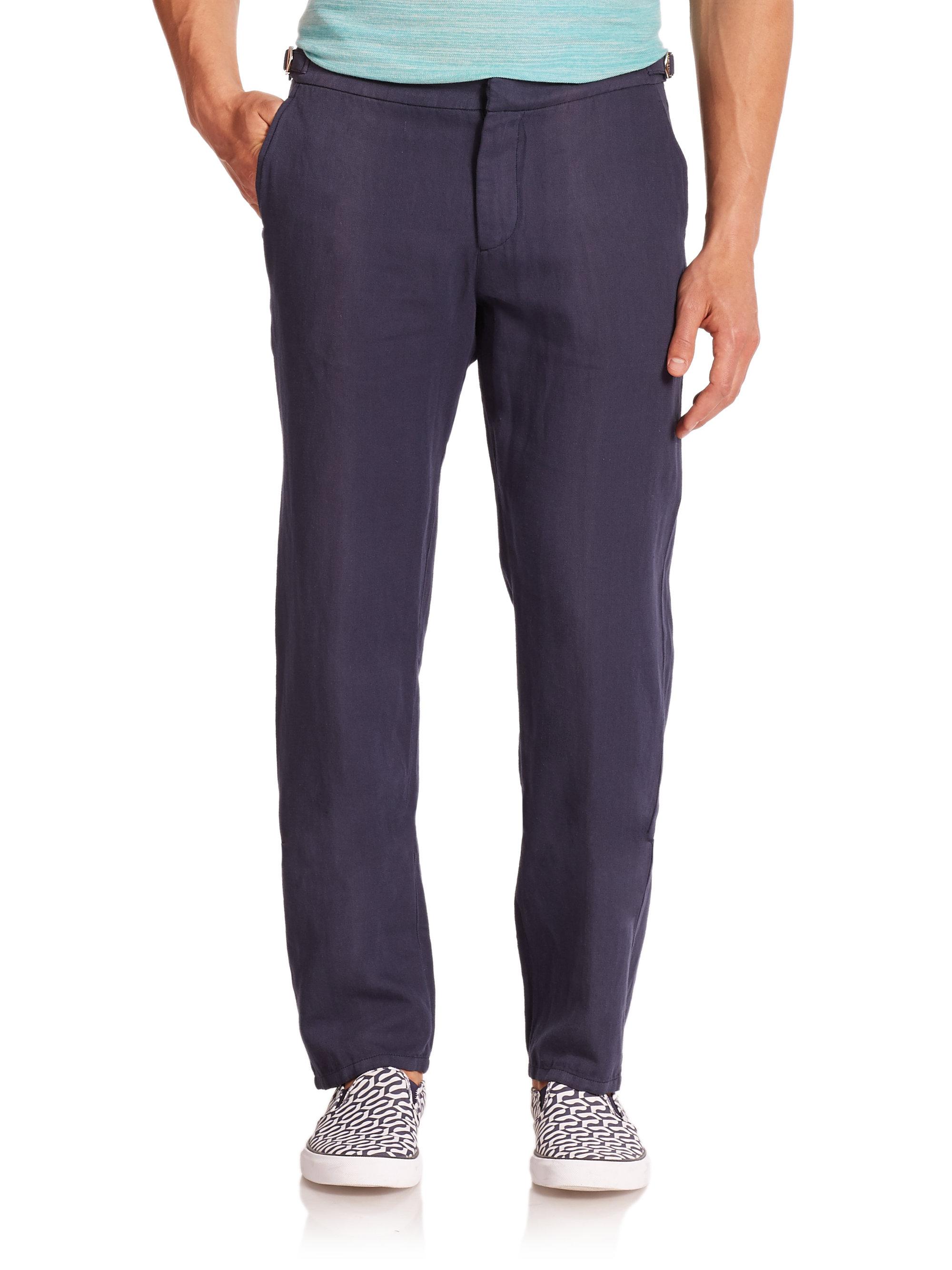 Lyst Orlebar Brown Bedlington Linen Amp Cotton Pants In Blue For Men
