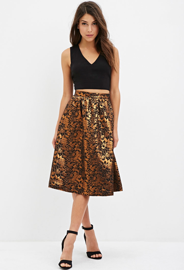 Forever 21 Contemporary Floral Jacquard A Line Skirt In