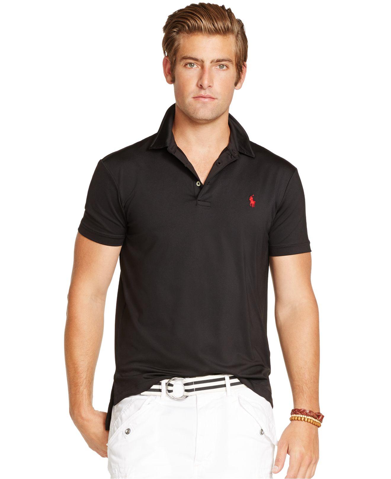 Polo Ralph Lauren Lisle Performance Polo In Black For Men
