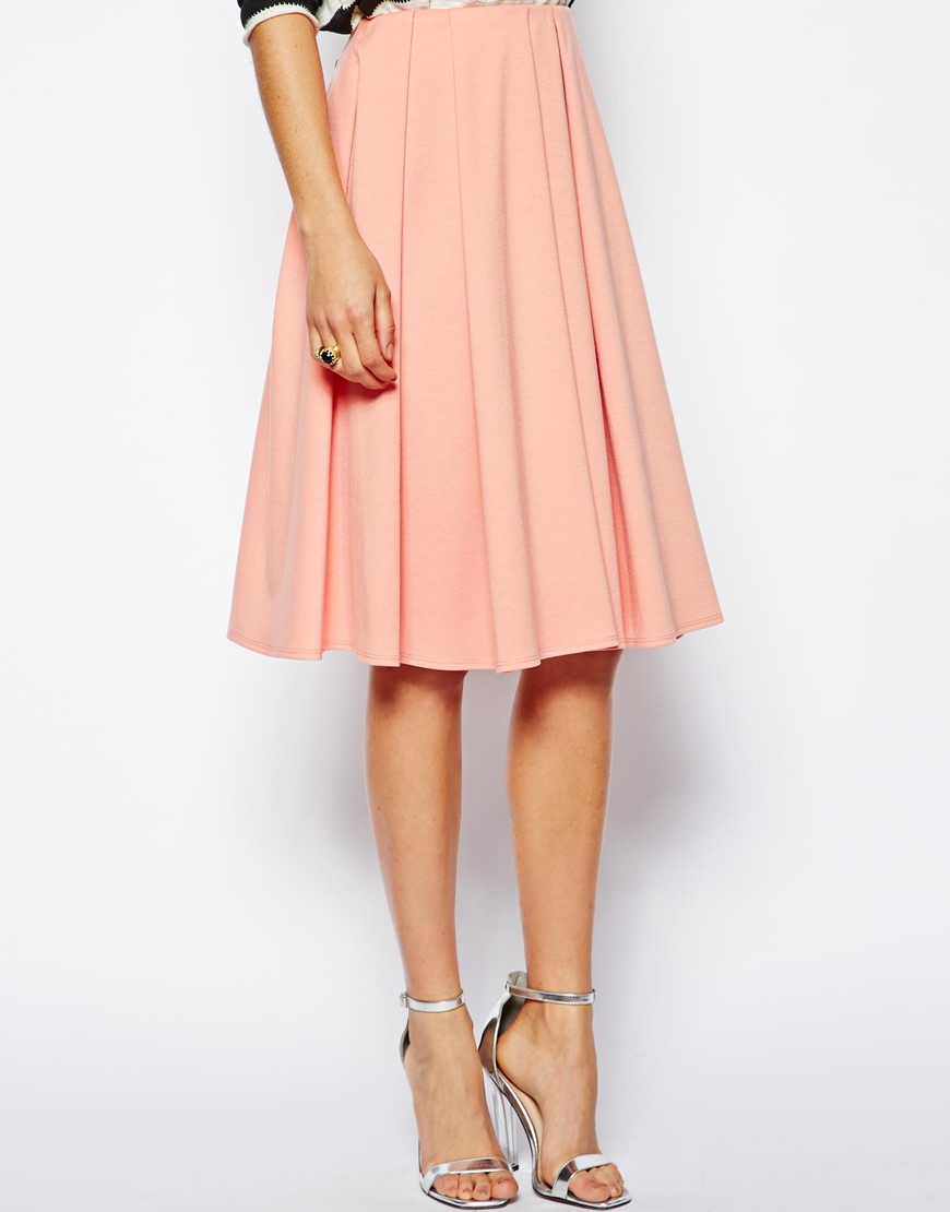 Asos Midi Skirt In Ponte With Bold Pleats in Pink | Lyst