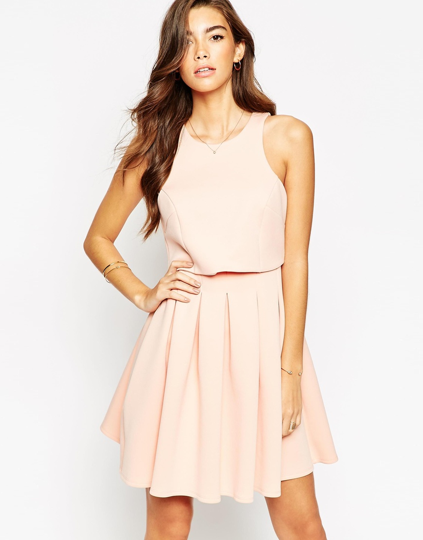 lyst asos debutante mini with crop top dress in pink. Black Bedroom Furniture Sets. Home Design Ideas