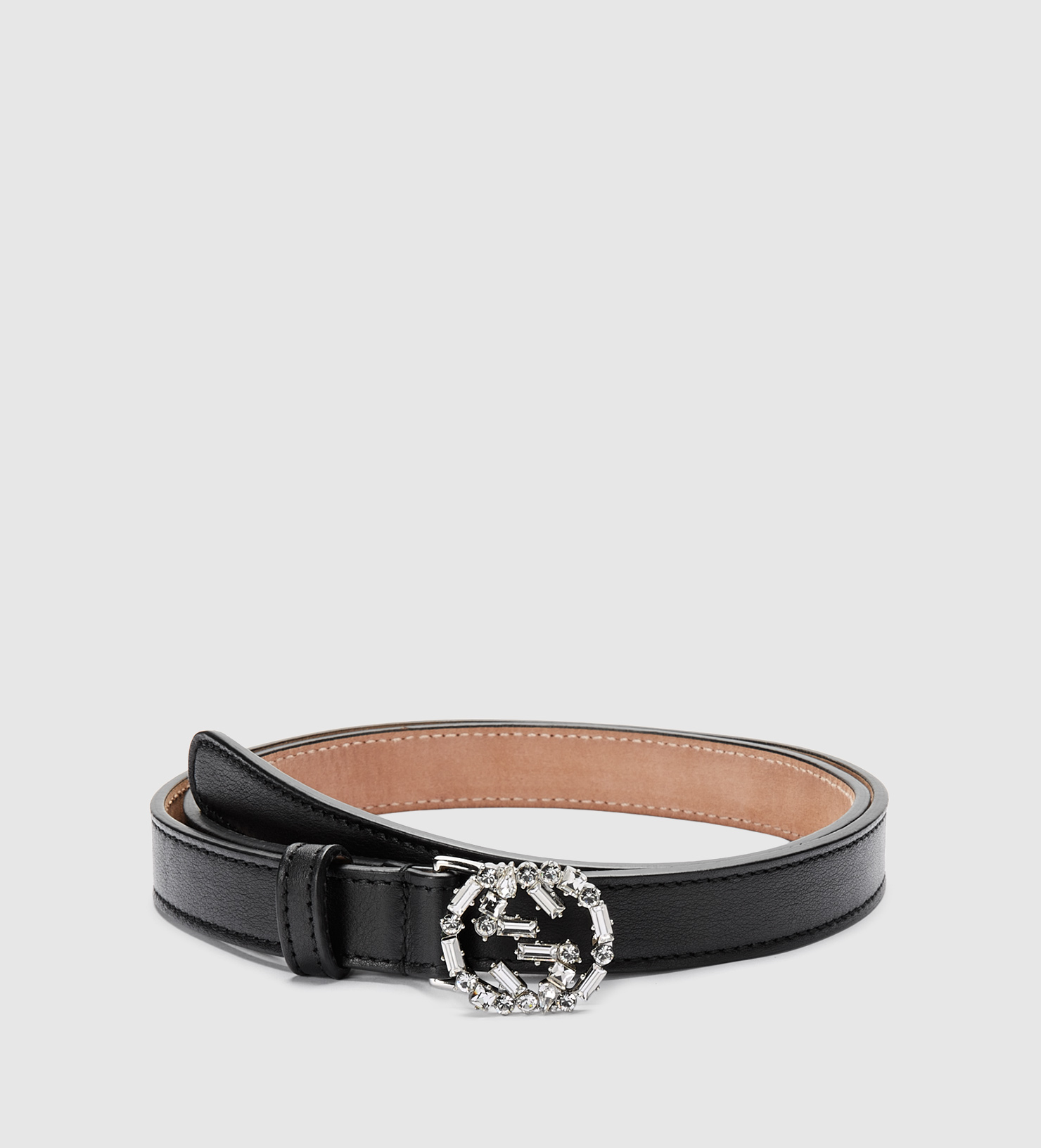 d5515d6c74a Gucci Black Leather Belt With Crystal Interlocking G Buckle in Black ...