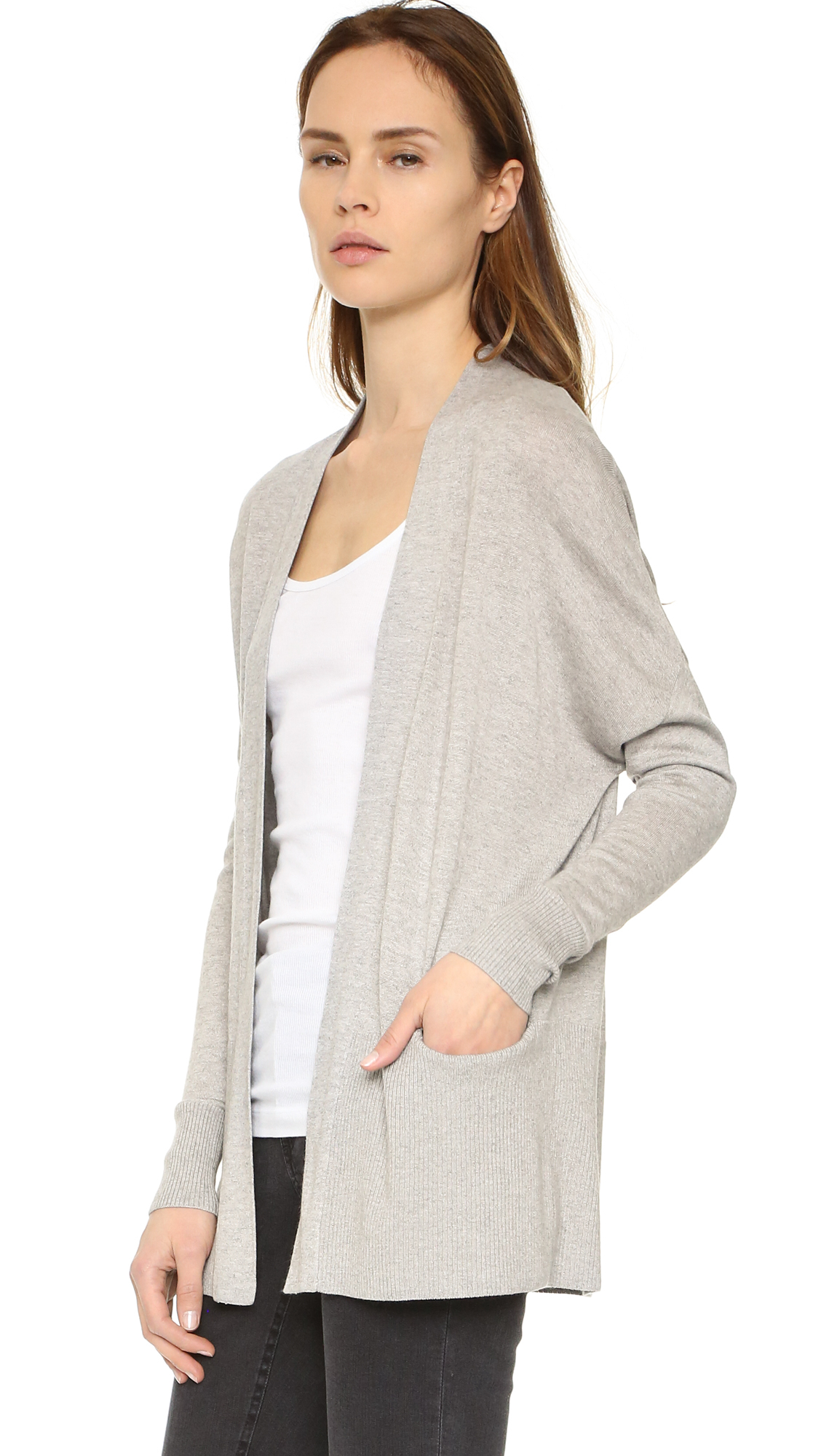 Vince Lightweight Open Cardigan in Gray | Lyst