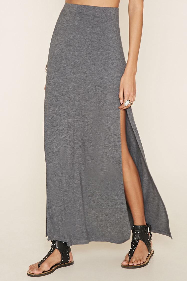 forever 21 side slit maxi skirt in gray lyst