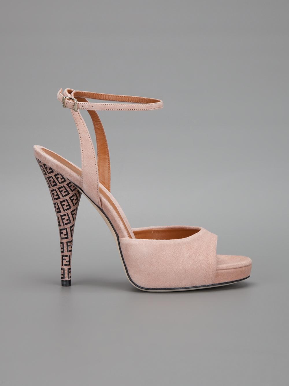 Lyst Fendi Monogram Heel Sandal In Pink