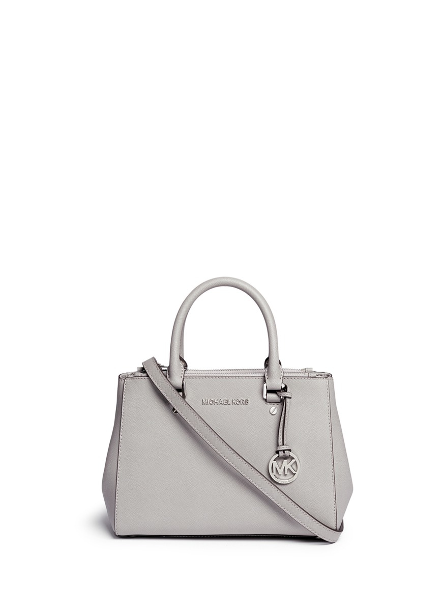 70e7dbb1e5 ... best price michael kors sutton small saffiano leather satchel in gray  lyst 98c16 61887