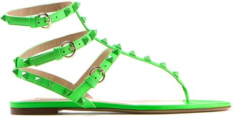 Valentino Neon Green Patentleather Sandals In Green Lyst