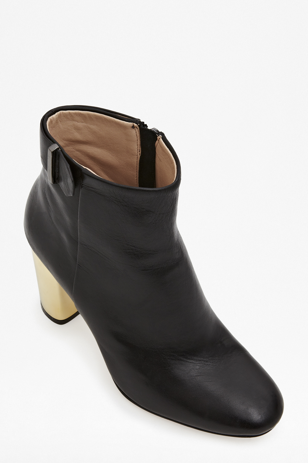 connection metallic heeled boots in black