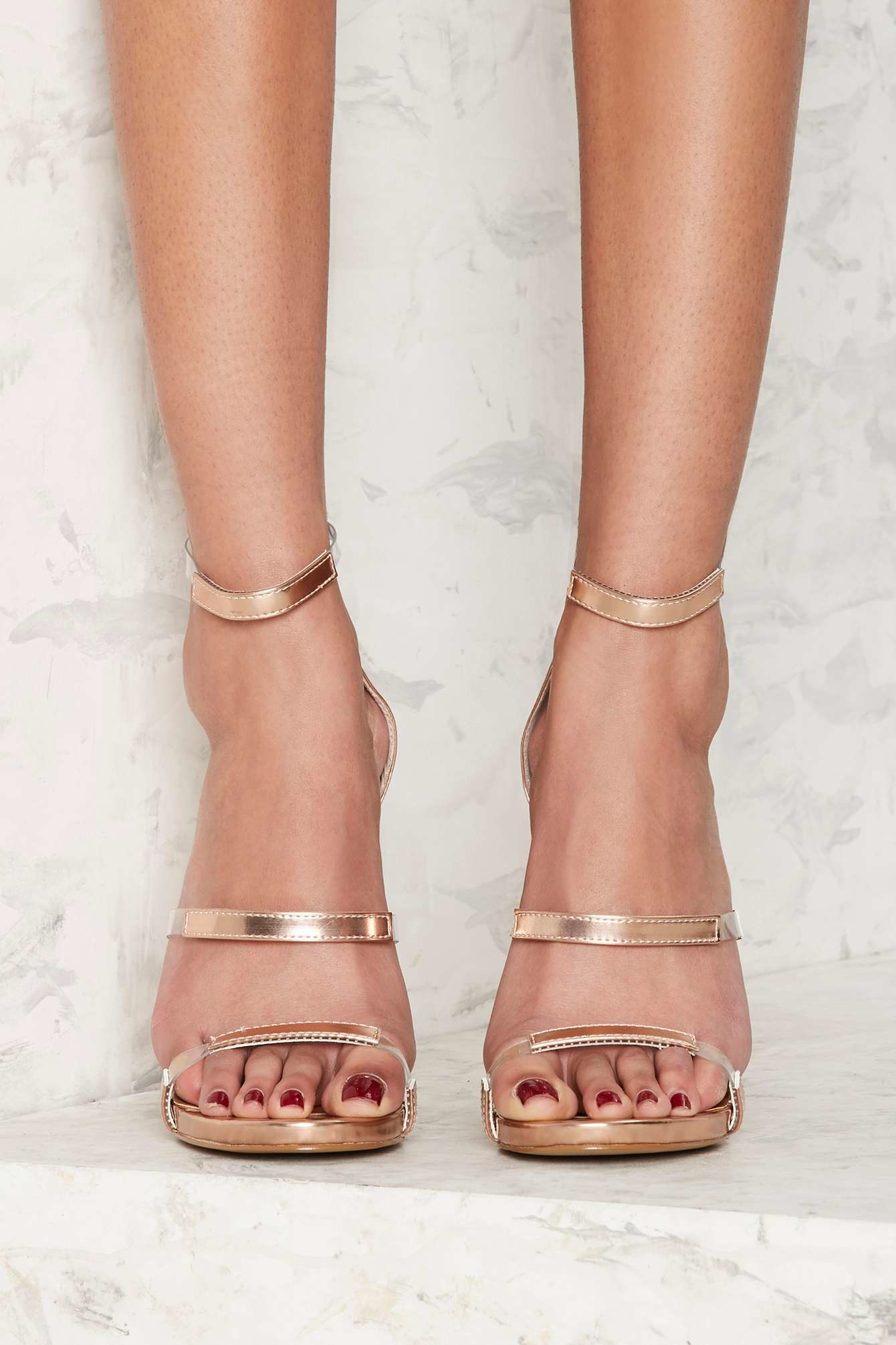0186f654562 Lyst - Nasty Gal In For The Thrill Strappy Heel - Rose Gold Metallic ...