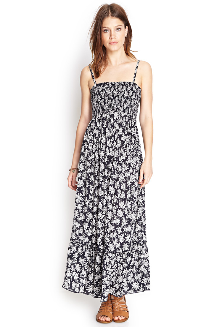 lyst forever 21 smocked floral maxi dress in blue