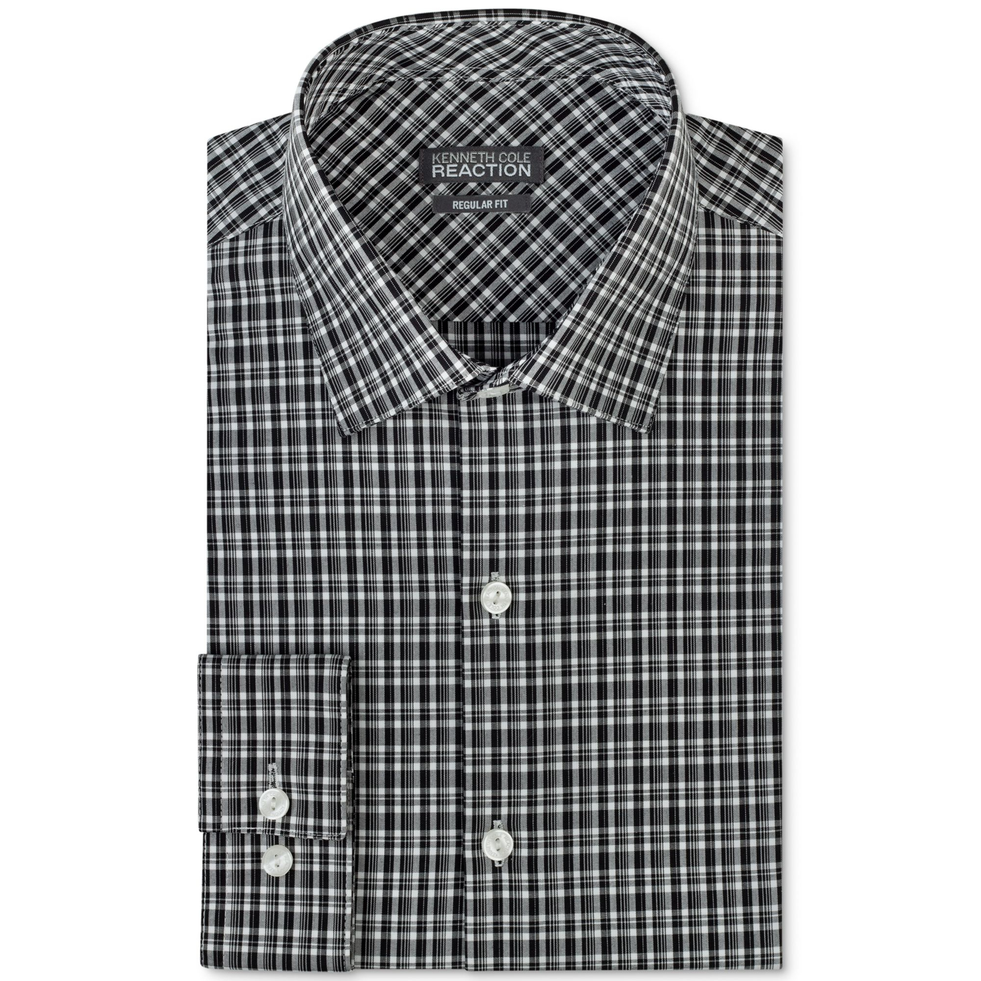 kenneth cole reaction black and white plaid dress shirt in