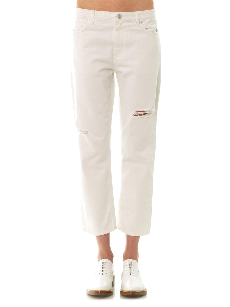Acne studios Pop Trash Midrise Boyfriend Jeans in White | Lyst