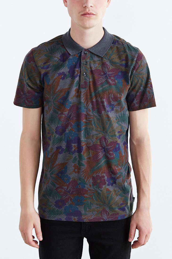 Lyst Vans Sherwood Floral Polo Shirt In Gray For Men