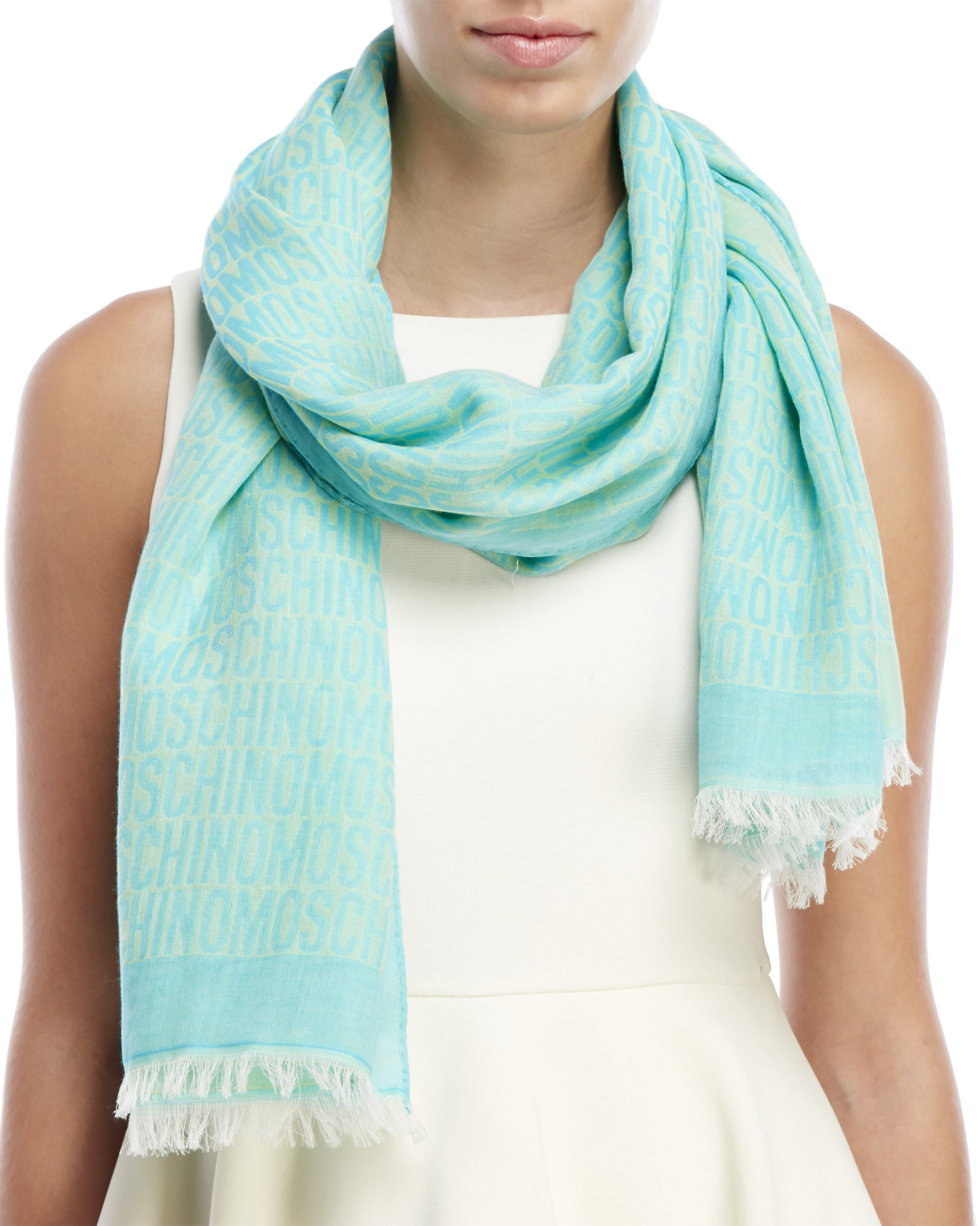 moschino logo woven scarf in blue lyst