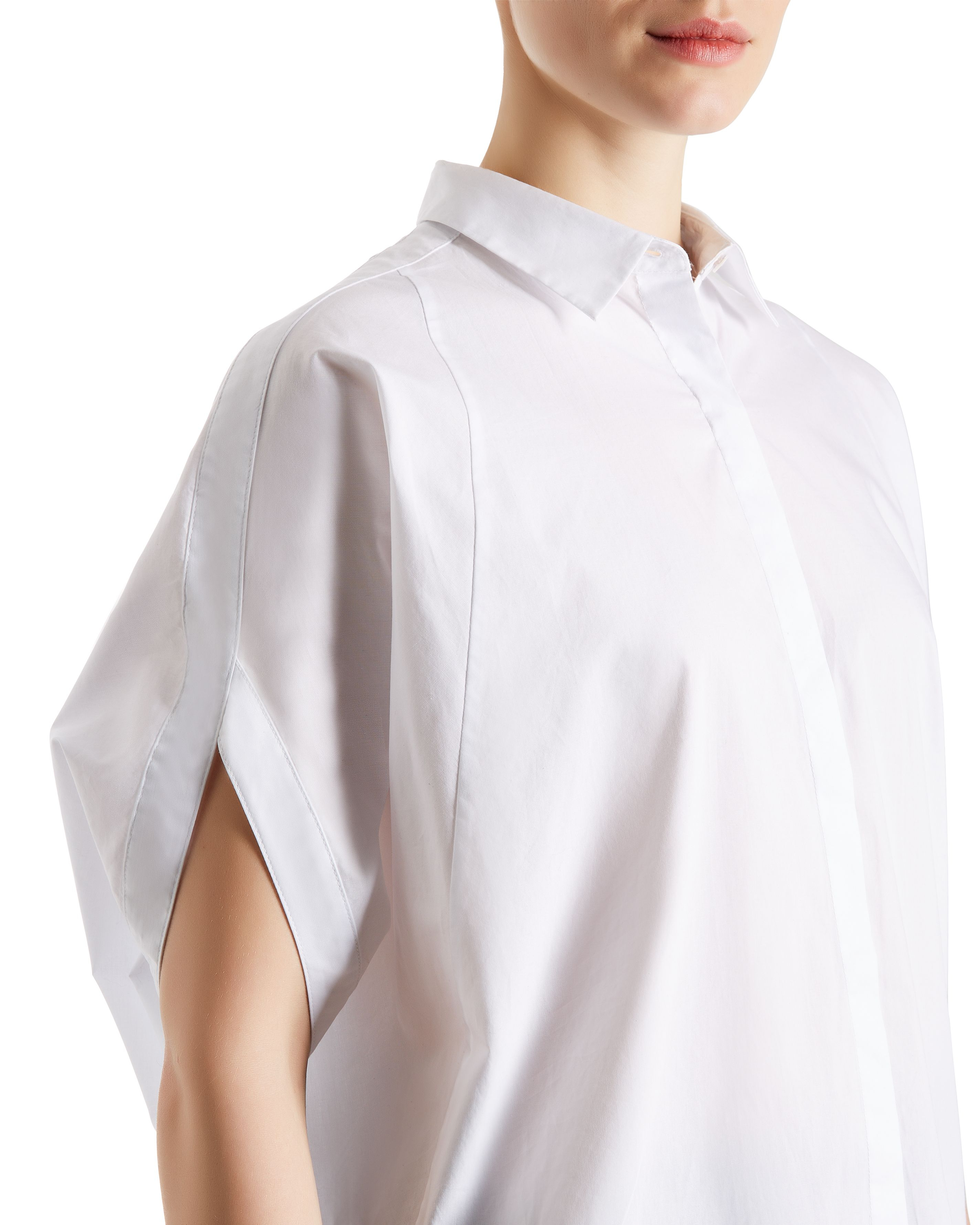 Jaeger Cotton Petal Sleeve Shirt in White
