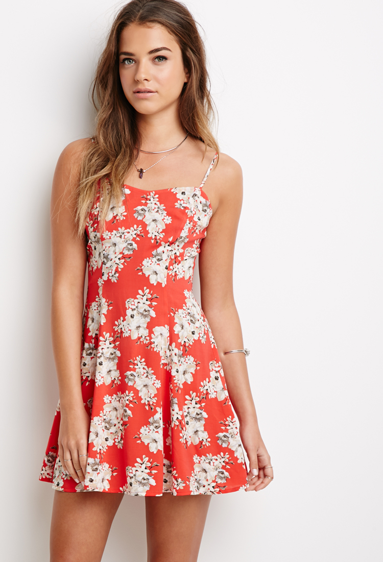 04a0013e6bc Forever 21 Floral Print Cami Dress in Red - Lyst