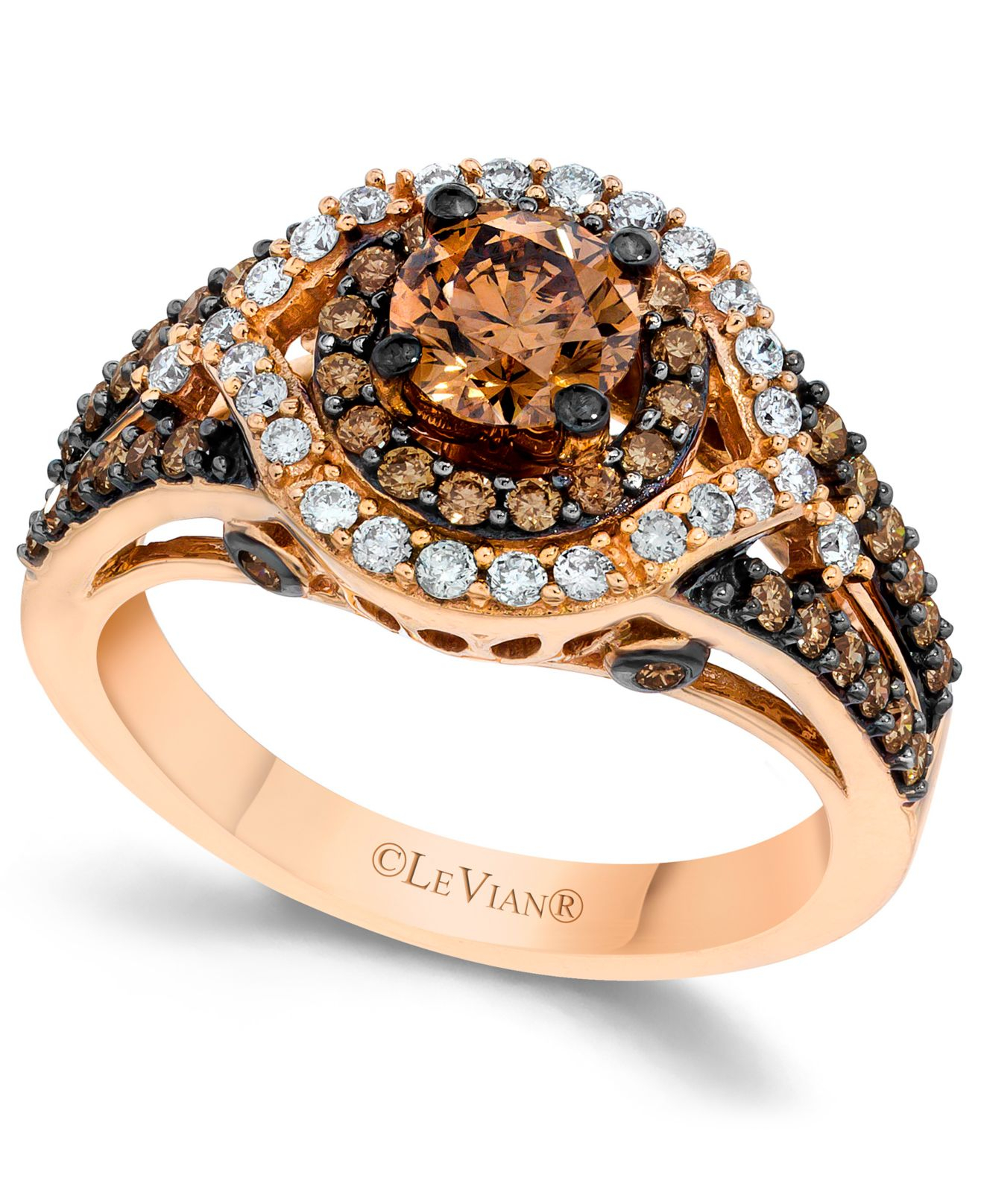 Le Vian Chocolate And White Diamond Engagement Ring In 14k Rose Gold (1-3/8 Ct. T.w.) In Brown ...