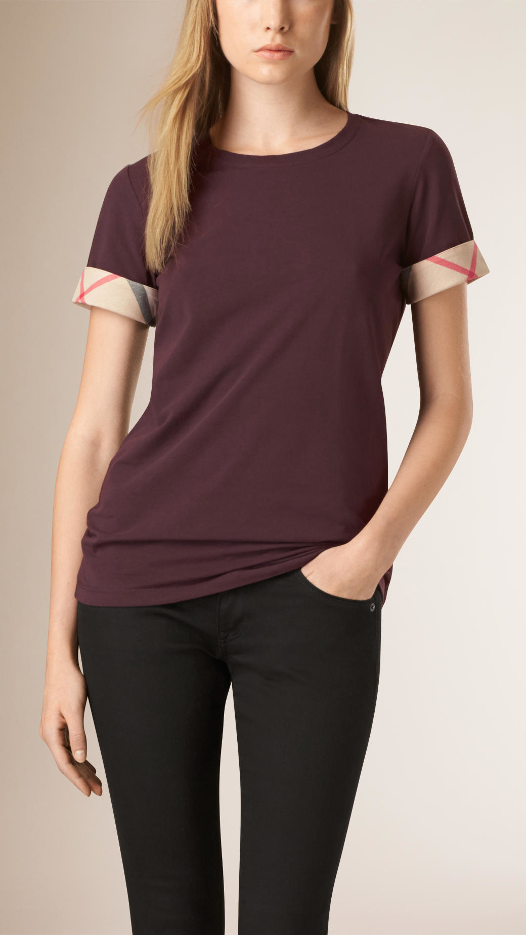 3fc0e5ba5ff8 Lyst Burberry Check Cuff Stretch Cotton T Shirt Dark Blackcurrant