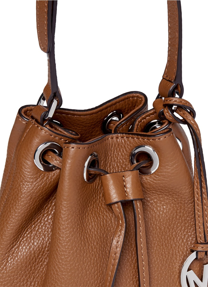 Lyst - Michael Kors Julie Leather Shoulder Bag in Brown a2e1d657b2917