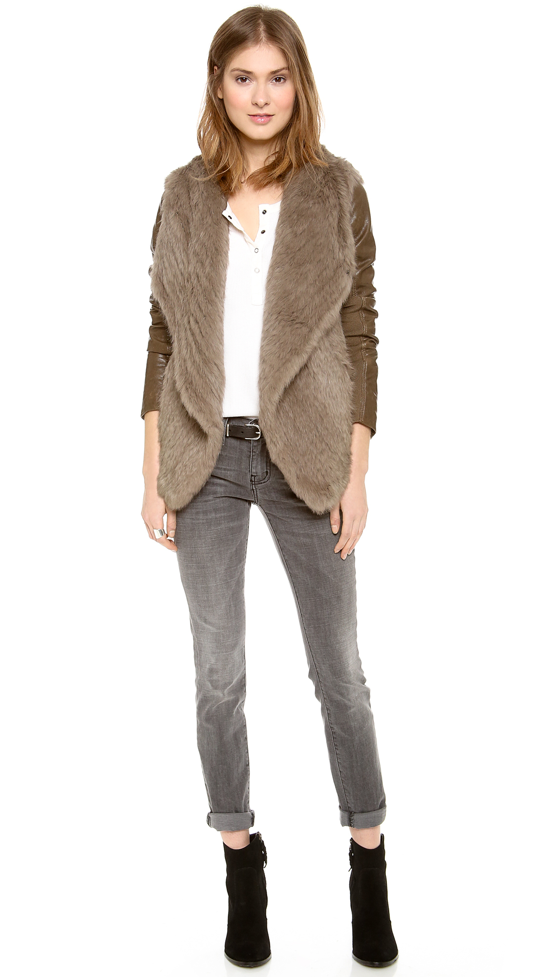 June Knit Fur Jacket with Leather Sleeves in Brown | Lyst