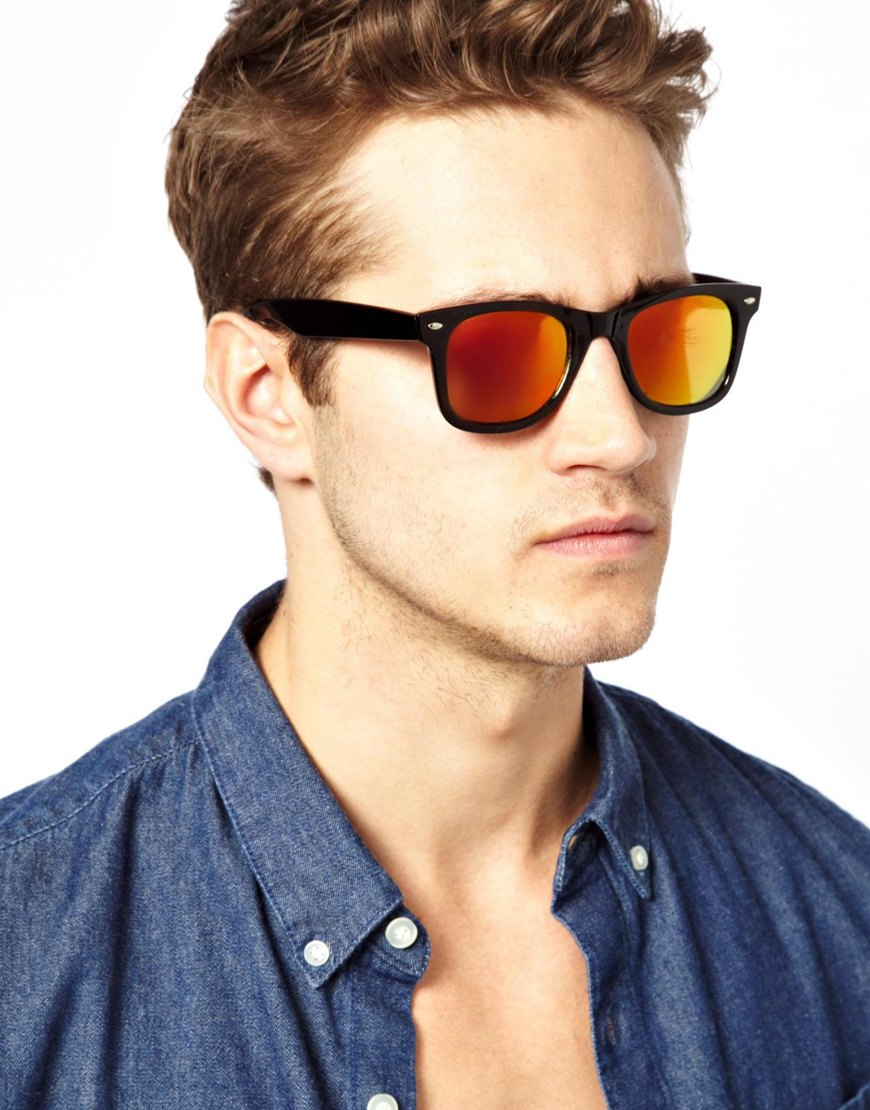 Orange Lens Sunglasses  asos wayfarer sunglasses with orange mirror lens in black lyst
