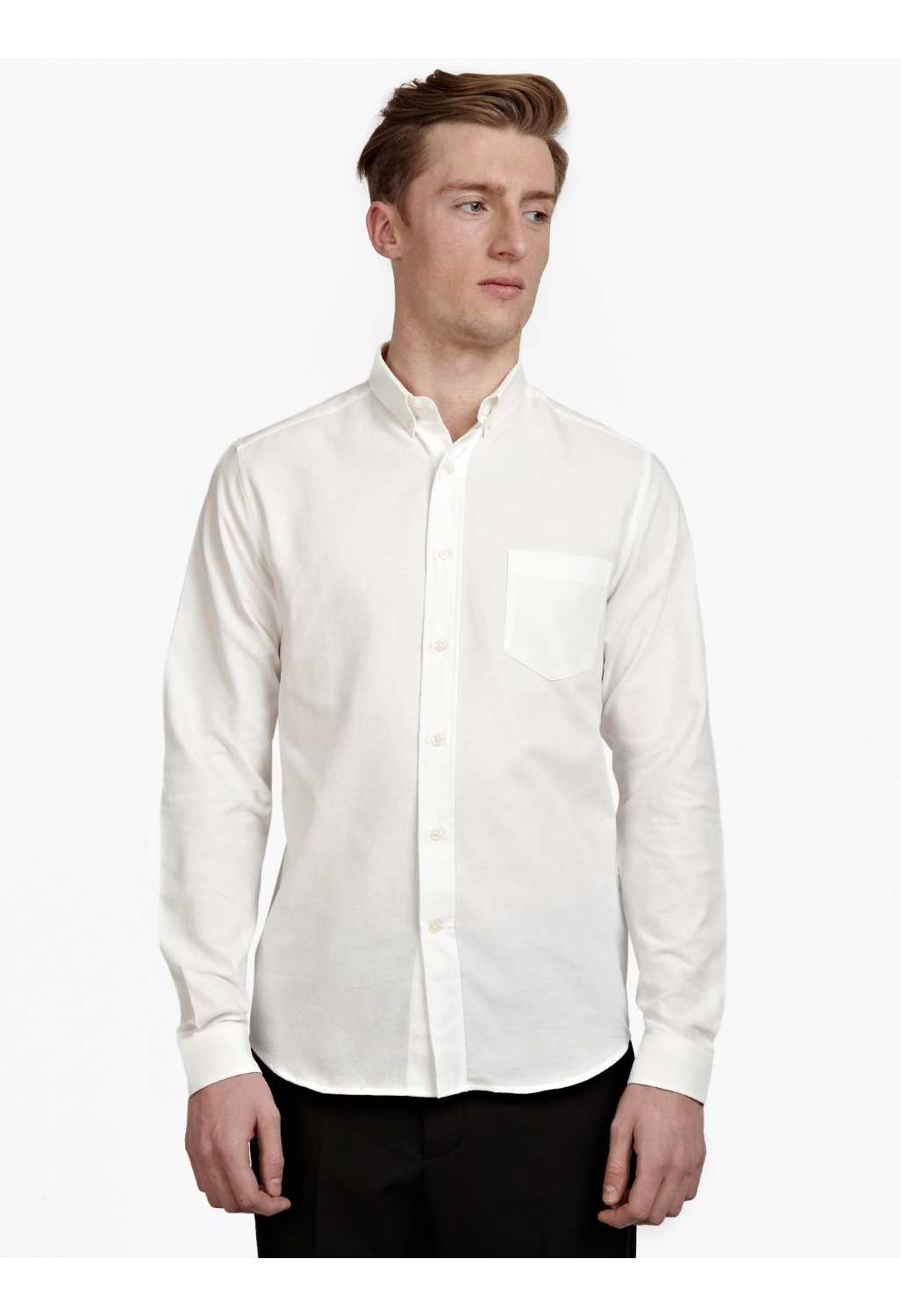 Ami men 39 s white button down shirt in white for men lyst for Mens white button down dress shirts