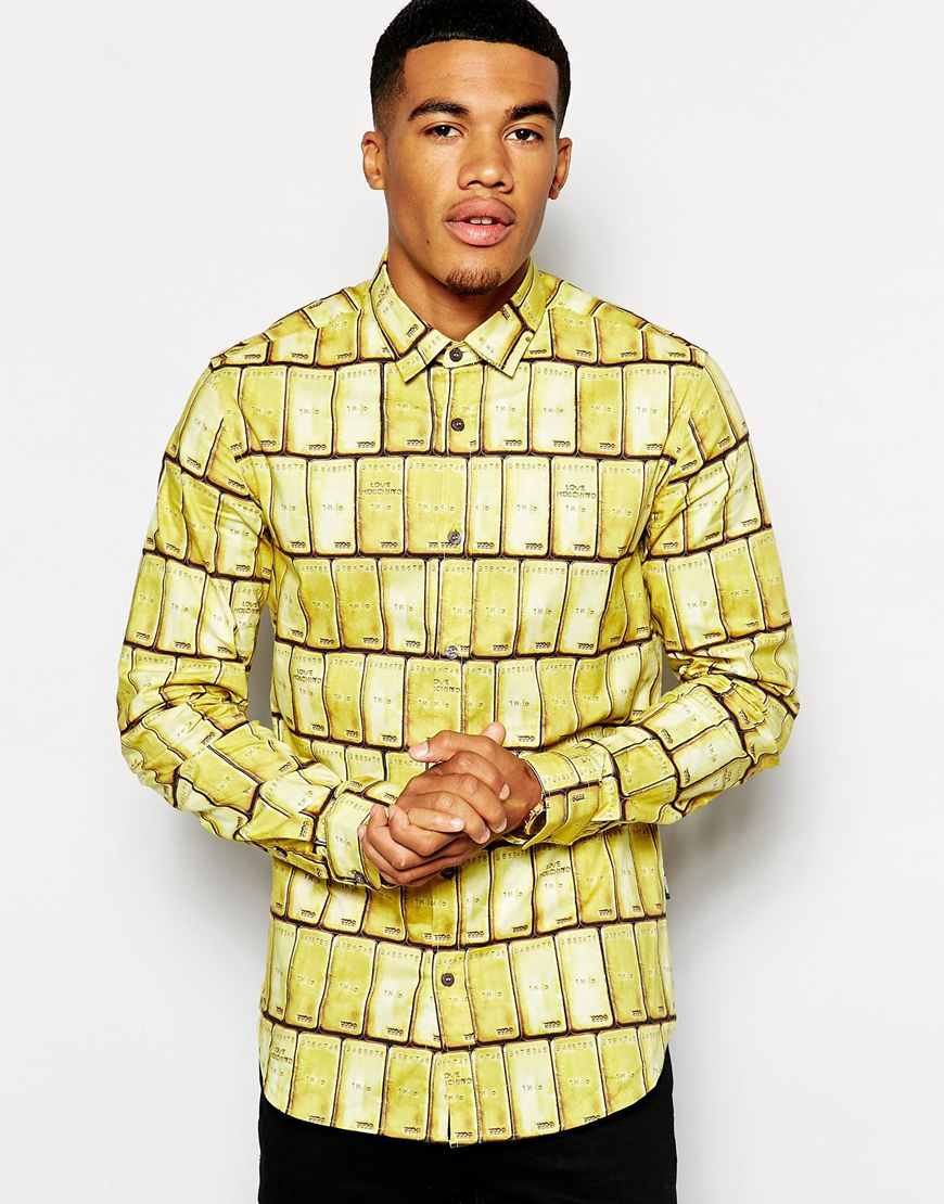 Love Moschino Shirt With Gold Print in Yellow for Men | Lyst