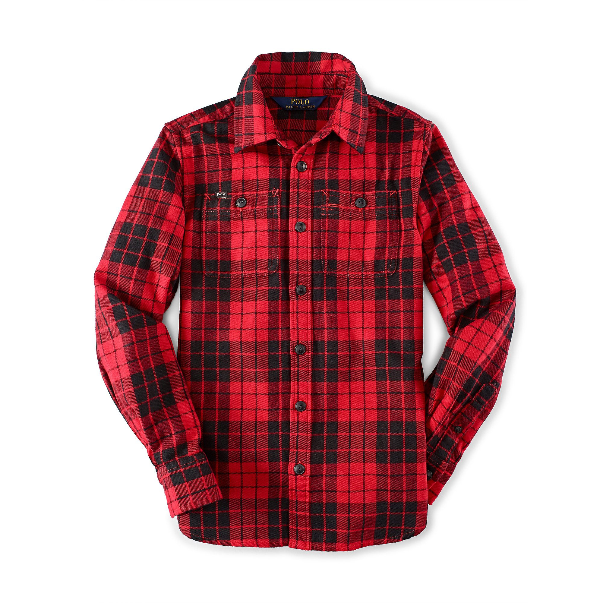Ralph lauren red and black plaid shirt mens for Red and white plaid shirt mens
