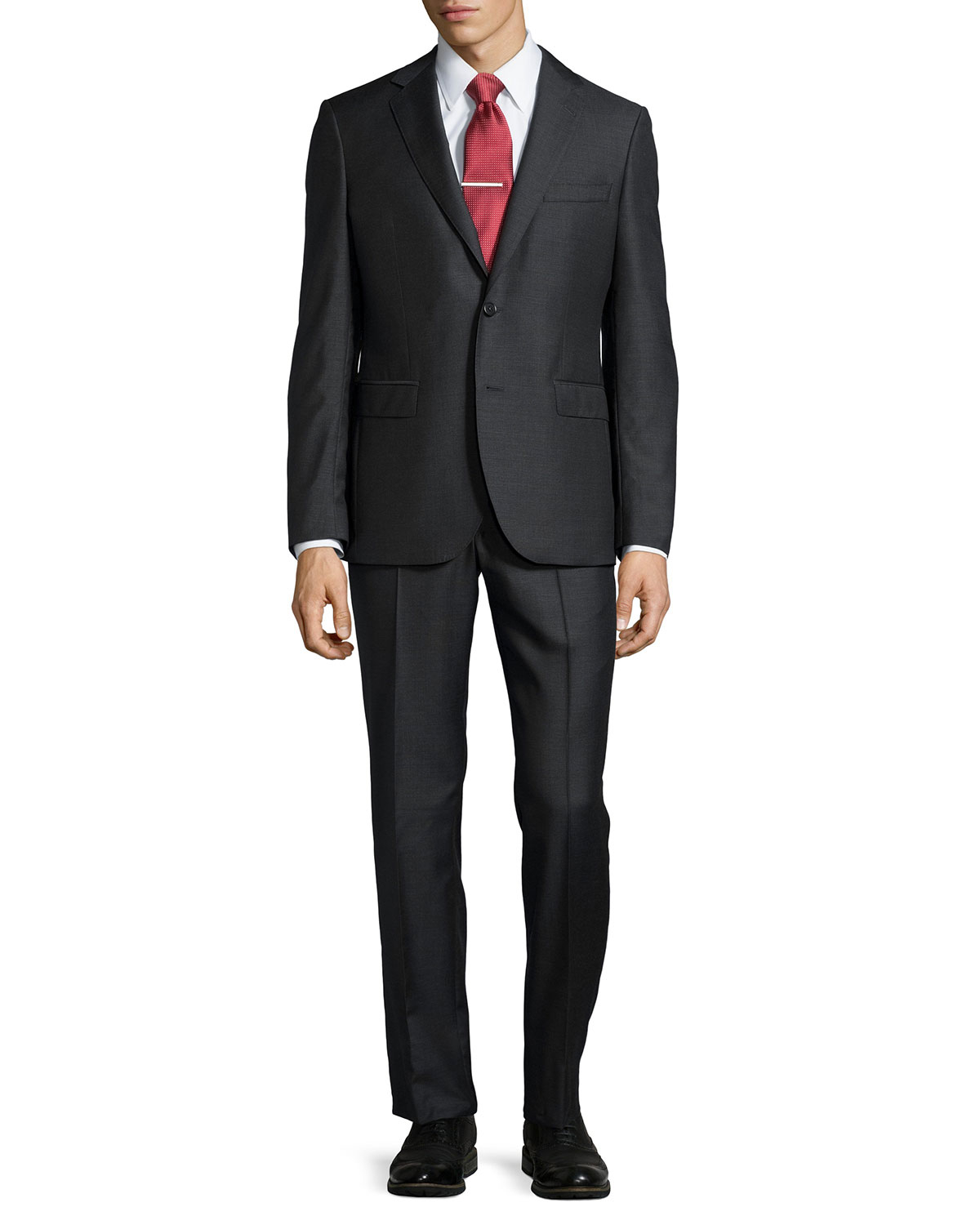 neiman modern fit neat two suit in black for