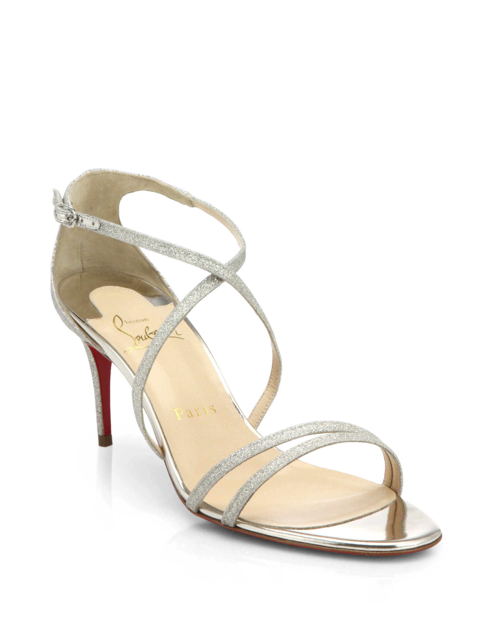 f21909de21fd ... release date lyst christian louboutin gwinee glittered leather sandals  in white 1e62d 87c50